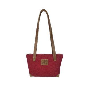 bolso shopping pequeño lona rojo y piel cuero