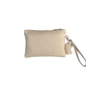 cartera de mano pequeña de piel beige