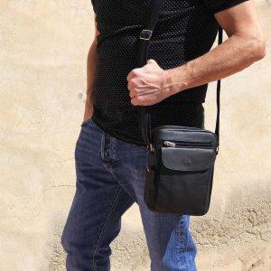 foto bolso de hombre bolsillo de piel negro