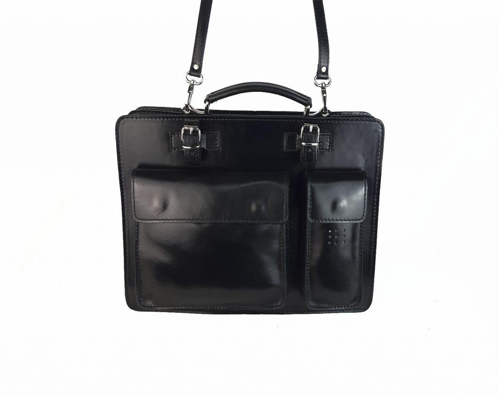 maletin de piel negro mod.satchel grande frontal