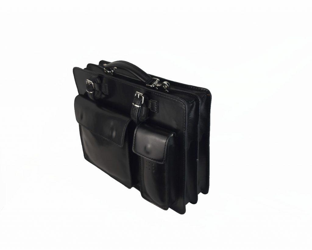 maletin de piel negro mod.satchel grande lateral der