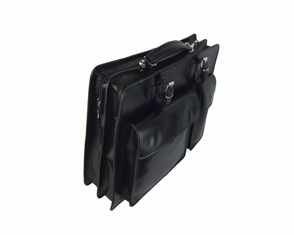 maletin de piel negro mod.satchel grande lateral izq
