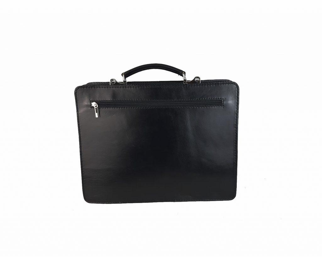 maletin de piel negro mod.satchel grande trasera