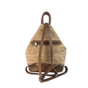 mochila antirrobo bolsillo de corcho y piel cuero