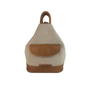 mochila antirrobo bolsillo de lona arena y piel cuero