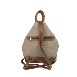 mochila antirrobo bolsillo de lona arena y piel cuero 2