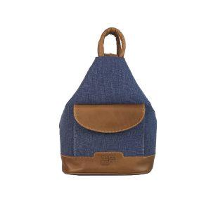 mochila antirrobo bolsillo de lona azul y piel cuero