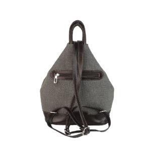 mochila antirrobo bolsillo de lona gris y piel marron oscuro