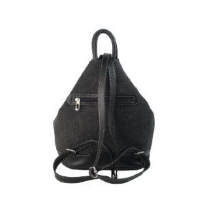 mochila antirrobo bolsillo de lona negra y piel negra