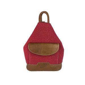 mochila antirrobo bolsillo de lona roja y piel cuero