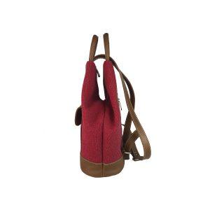 mochila antirrobo bolsillo de lona roja y piel cuero 3