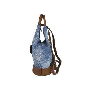 mochila antirrobo bolsillo de lona vaquera lavada y piel cuero 3
