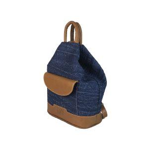 mochila antirrobo bolsillo de lona vaquera y piel cuero