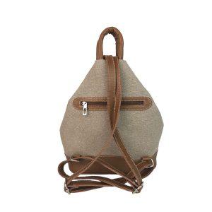 mochila antirrobo de lona arena y piel cuero