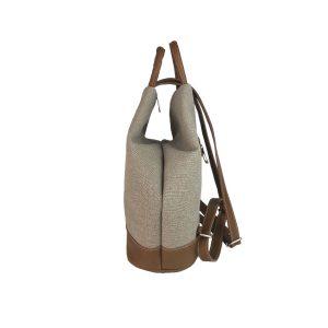 mochila antirrobo de lona arena y piel cuero 3