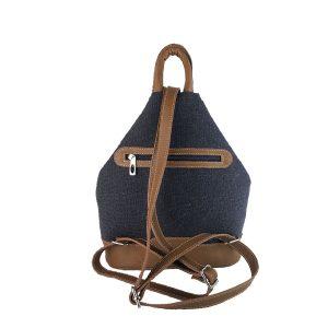 mochila antirrobo de lona azul marino y piel cuero 2