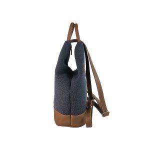 mochila antirrobo de lona azul marino y piel cuero 3