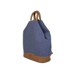 mochila antirrobo de lona azul y piel cuero