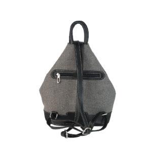 mochila antirrobo de lona gris y piel negra