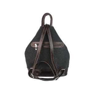 mochila antirrobo de lona negra y piel marron oscuro