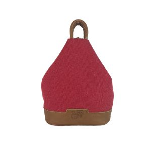 mochila antirrobo de lona roja y piel cuero