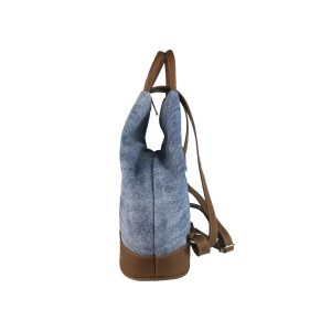 mochila antirrobo de lona vaquera lavada y piel cuero 3