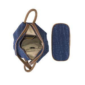 mochila antirrobo de lona vaquera y piel cuero 3