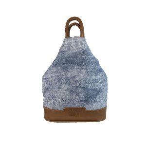 mochila antirrobo de lona vaquera y piel cuero
