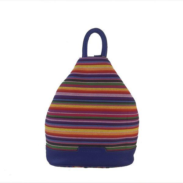 mochila antirrobo rayas azul