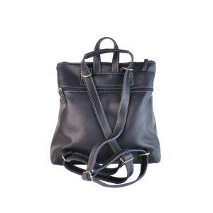 mochila-bolso de piel azul marino 1