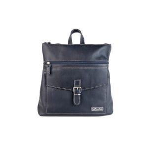 mochila-bolso de piel azul marino