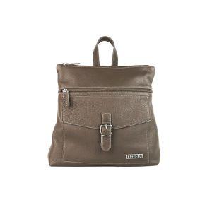 mochila-bolso de piel azul taupe
