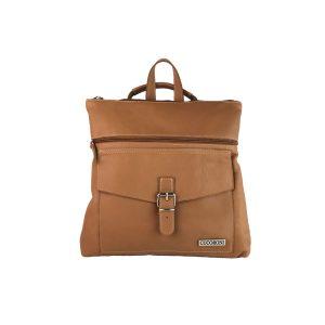 mochila-bolso de piel camel