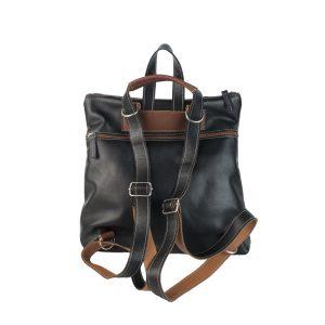 mochila-bolso de piel negra, camel, marron y azul 1