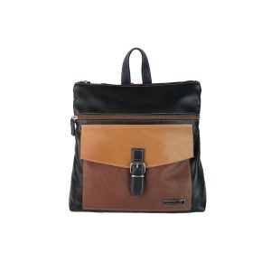 mochila-bolso de piel negra, camel, marron y azul
