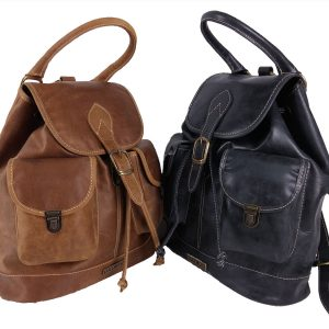 mochila de cuero vintage colores neg y cam