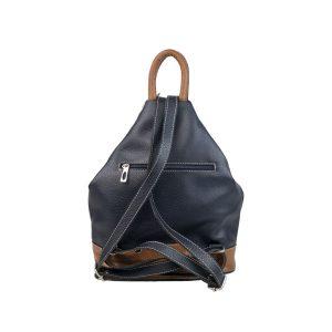 mochila de piel antirrobo azul marino y cuero 1