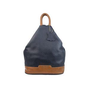 mochila de piel antirrobo azul marino y cuero