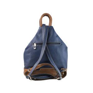 mochila de piel antirrobo azul y cuero 1