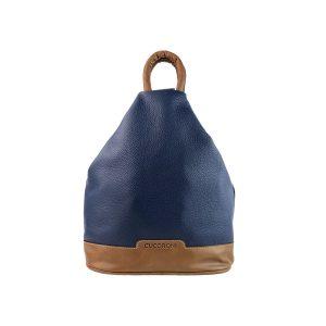 mochila de piel antirrobo azul y cuero