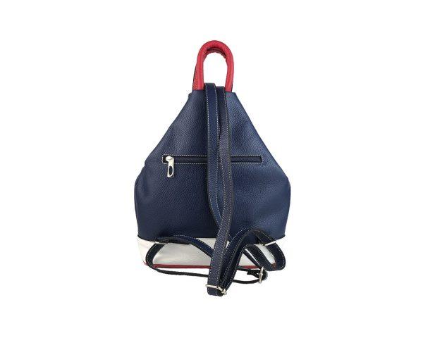 mochila de piel antirrobo bolsillo azul, blanco y rojo 2