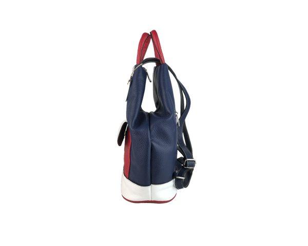 mochila de piel antirrobo bolsillo azul, blanco y rojo 3