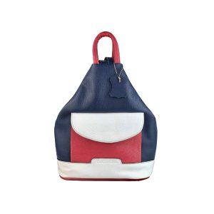 mochila de piel antirrobo bolsillo azul, blanco y rojo