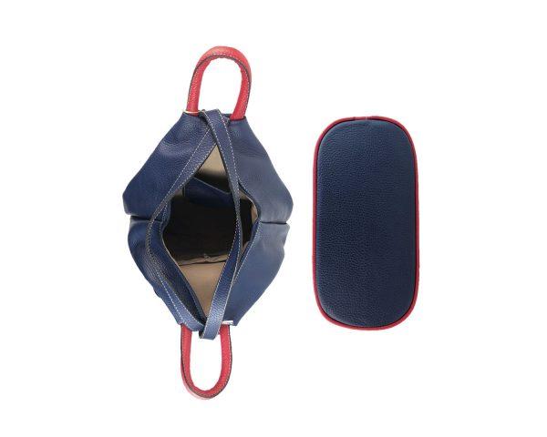 mochila de piel antirrobo bolsillo azul, blanco y rojo 4