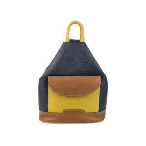 mochila de piel antirrobo bolsillo azul marino, amarillo mostaza y cuero