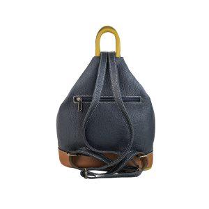mochila de piel antirrobo bolsillo azul marino, cuero y amarillo mostaza 2