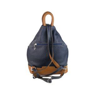 mochila de piel antirrobo bolsillo azul marino y cuero 2