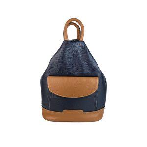 mochila de piel antirrobo bolsillo azul marino y cuero