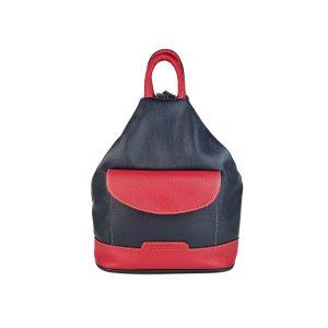 mochila de piel antirrobo bolsillo azul marino y rojo