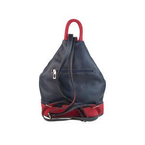 mochila de piel antirrobo bolsillo azul marino y rojo 2